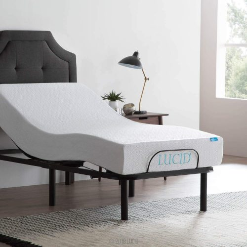 LUCID L100 Adjustable Bed Base - High-Quality Steel Frame - 5 Minute Assembly - Head and Foot Incline - Wired Remote Control - Twin XL