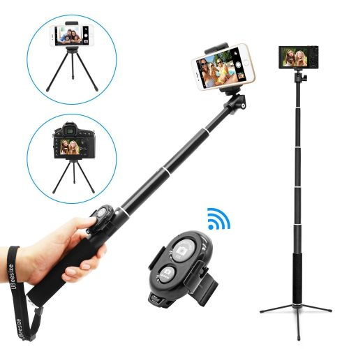 Selfie Stick, UBeesize Extendable Monopod with Tripod Stand and Wireless Shutter Remote for iPhone, Samsung, other Android phones, digital cameras and GoPro