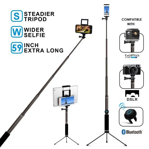 Bluetooth Selfie Stick with Tripod, Remote 59Inch MFW Extendable Monopod with Tripod Stand for iPhone X/8/7/6/Plus, Tablet, Samsung S7/S8, Android, GoPro Cameras