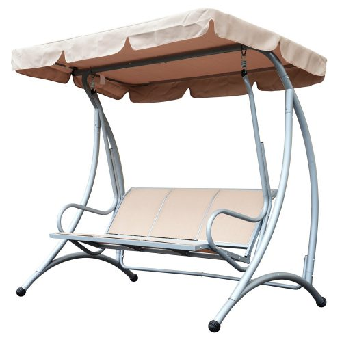 Outsunny 3 Person Steel Outdoor Patio Porch Swing Chair with Adjustable Canopy