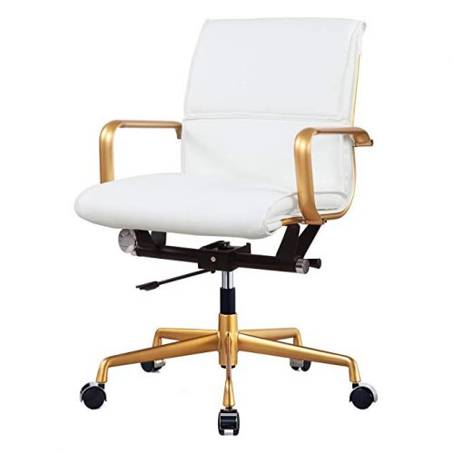 Meelano 330-GD-WHI Vegan Leather Office Chair - Minimal Design Office Chair