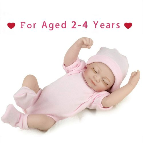 """PENSON & CO... RBB012700 Reborn Newborn Baby Realike Handmade Lifelike Silicone Vinyl Weighted Alive Doll for Toddler Gifts 10"""""""