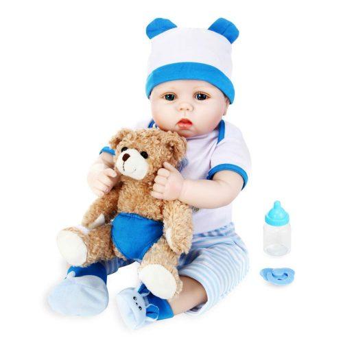 Aori 22 Inch Reborn Baby Doll Vinyl Silicone Full Body Like Realistic Baby Doll Boy Toy Gift