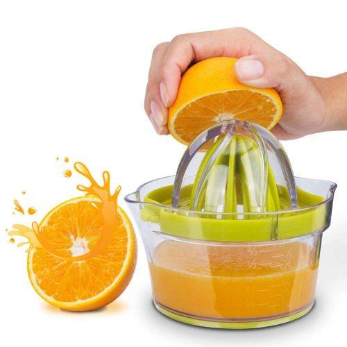 Citrus Juicer(2019 UPGRADE 4 in 1), Elindio Orange Manual Hand Squeezer Space Saving Kitchen Juicer with Garlic Grater, Anti-Slip Non-Marking Silicone Base, Multi-Reamers for Filter Egg white