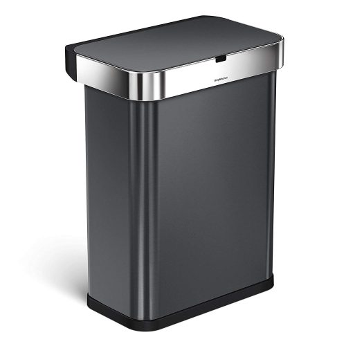 simplehuman 58 Liter / 15.3 Gallon 58L Stainless Steel Touch-Free Rectangular Kitchen Sensor Trash Can with Voice and Motion Sensor, Voice Activated, Black Stainless Steel