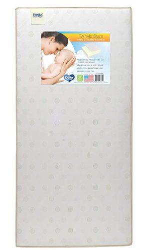 Delta Children Twinkle Stars Fiber Core Crib and Toddler Mattress | Waterproof | Lightweight - crib mattress
