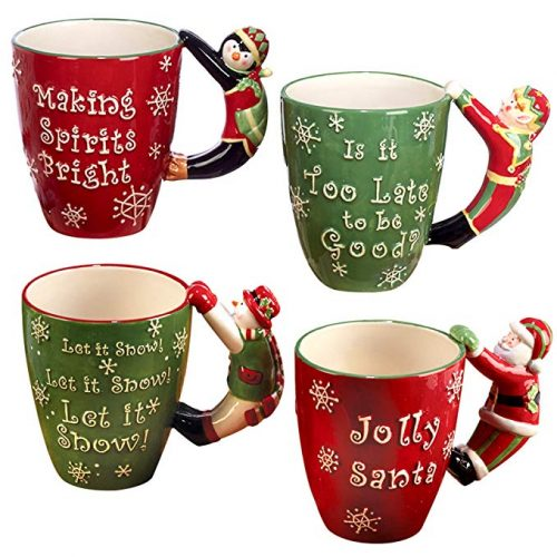 "Certified International""Santa, Snowman, Elf & Penguin"" 3D Handle Mugs - Christmas Mugs"