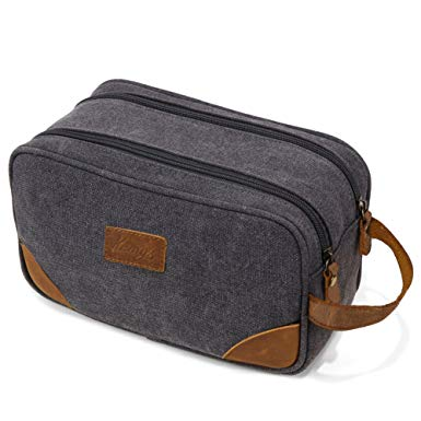Image result for Mens Canvas Toiletry Bag Travel Bathroom Shaving Dopp Kit with Double Compartments - Men Toiletry Bags