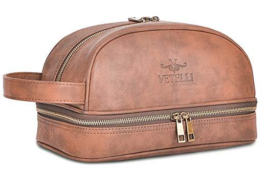 ... Vetelli Leather Toiletry Bag For Men (Dopp Kit) with free Travel  Bottles - Men ... 5e535c6730