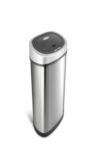NINE STARS DZT-50-9 Automatic Touchless Infrared Motion Sensor Trash Can, 13 Gal 50L, Stainless Steel Base (Oval, Silver/Black Lid)