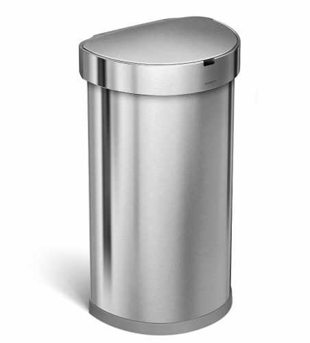 Simplehuman 45 Liter/12 Gallon Stainless Steel Semi-Round Sensor Can, Touchless Automatic Trash Can, Brushed Stainless Steel