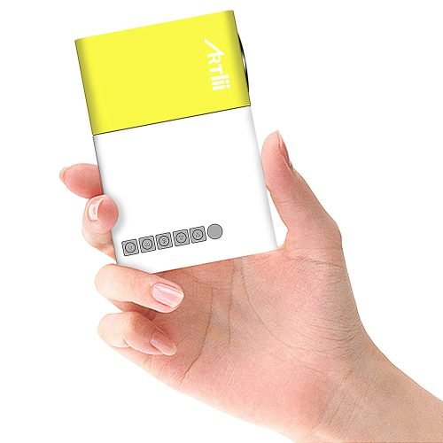 Pico Projector, Artlii Movie iPhone Mini Pocket Laptop Smartphone Projector for Home Cinema Video Party - Yellow&White