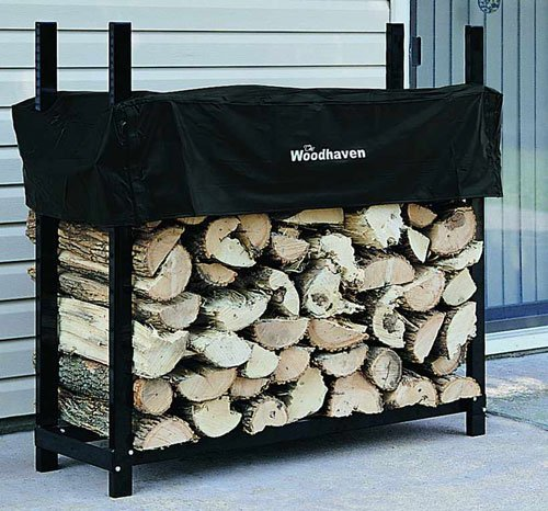 "48"" Heavy-Duty Woodhaven Firewood Rack with Cover"