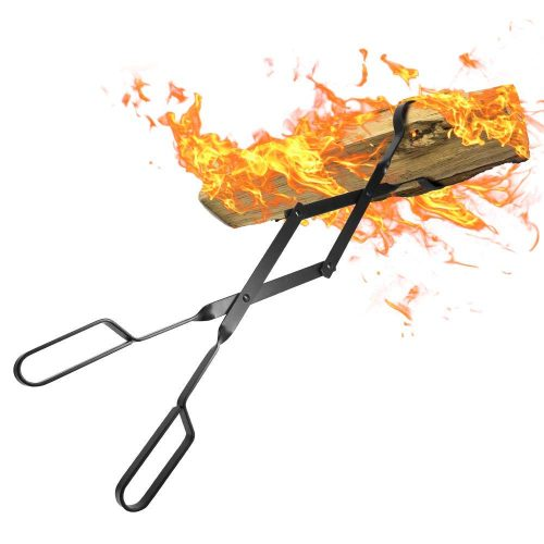 """AMAGABELI GARDEN & HOME Fireplace 26"""" Heavy Duty Indoor Firewood Tongs Wrought Iron Claw Grabber for Wood Stove Outdoor Long Logs Tweezers Pit Campfire Fire Place Tools Accessories"""