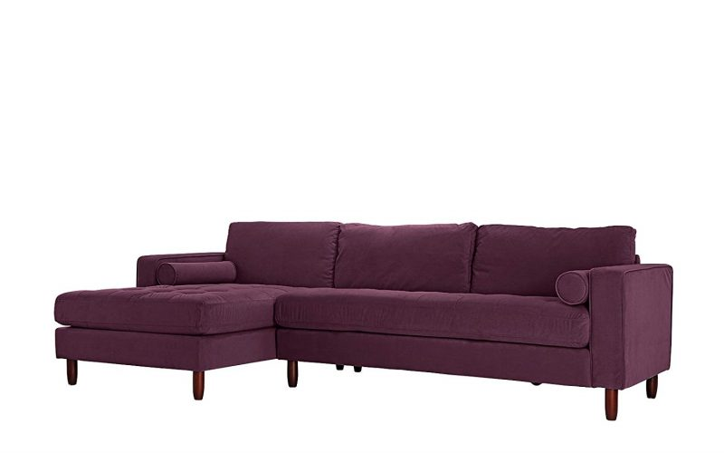 Divano Roma Furniture Mid-Century Modern Tufted Velvet Sectional Sofa - Corner Sofa (L shape sofa)