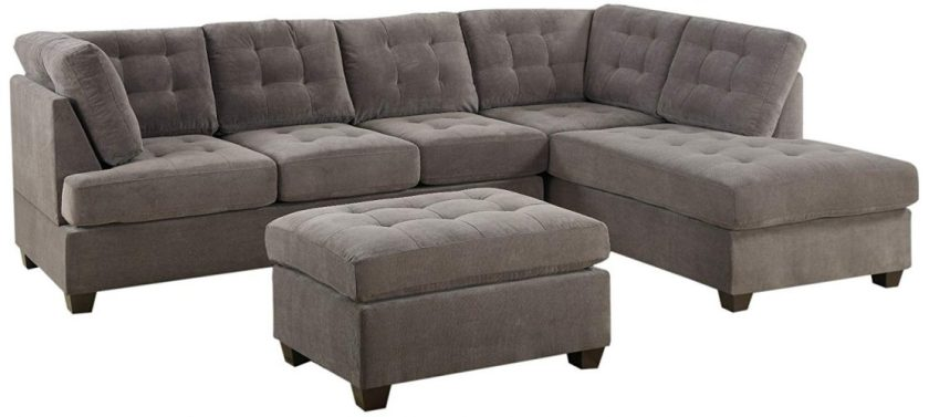 Bobkona Michelson 3-Pieces Reversible Sectional - Corner Sofa (L shape sofa)