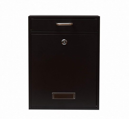 Wall Mounted Locking Vertical Dropbox Mailbox - Safe and Secure (Large) | Made with Galvanized Steel | White (Black)