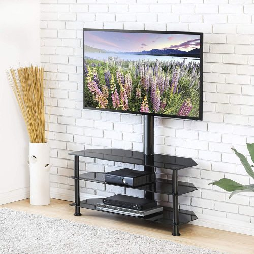 FITUEYES 4-Tiers Corner TV Stand with Mount Audio Shelf and Height Adjustable Bracket Suit for 32-55 inch LCD, LED OLED TVs or Curved TVs TW406001MB