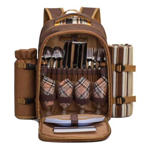 "APOLLO WALKER TAWA Picnic Backpack Bag for 4 Person with Cooler Compartment, Wine Bag, Picnic Blanket (45""x53""), Best for Family and Lovers Gifts (Coffee)"