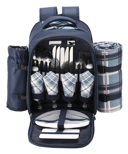 VonShef - 4 Person Blue Tartan Picnic Backpack Bag with Cooler Compartment, Detachable Bottle/Wine Holder, Fleece Blanket, Flatware, and Plates