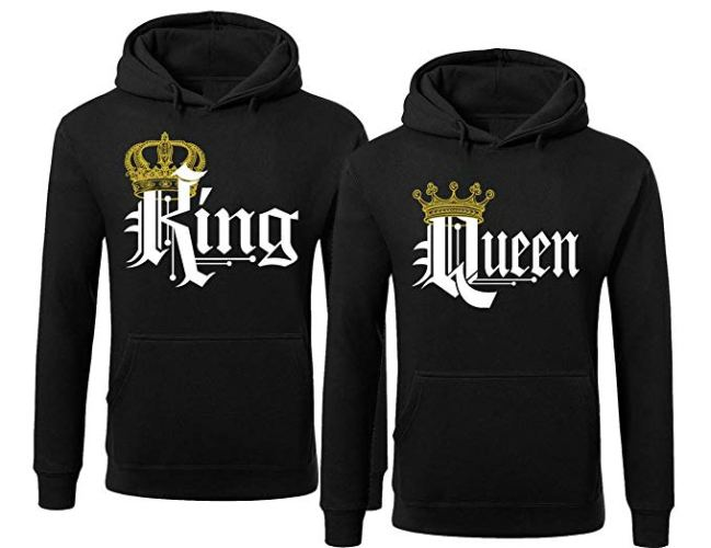 King Queen Crown Hoodies-Matching Couple Pullover Hoodie