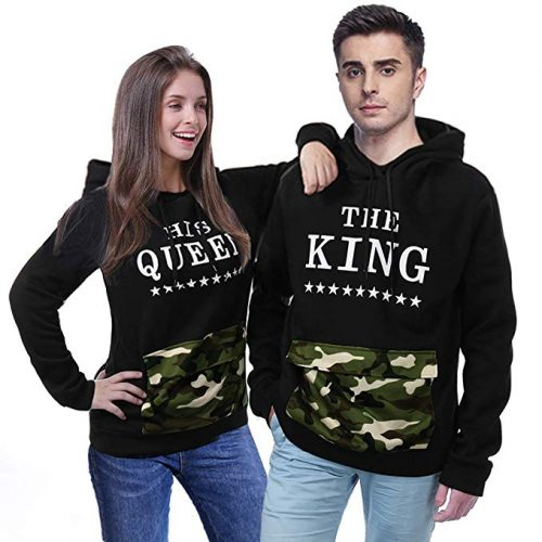 YJQ King and Queen Matching Couple Hoodies Pullover Hoodie Sweatshirts