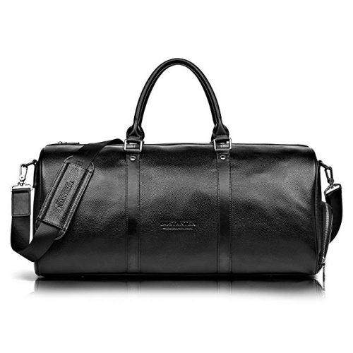 BOSTANTEN Genuine Leather Travel Weekender Overnight Duffel Bag Gym Sports Luggage Tote Duffle Bags For Men & Women