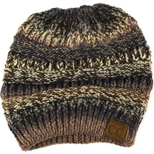 CC Ponytail Messy Bun BeanieTail Soft Winter Knit Stretchy Beanie Hat Cap Black Gray Mix