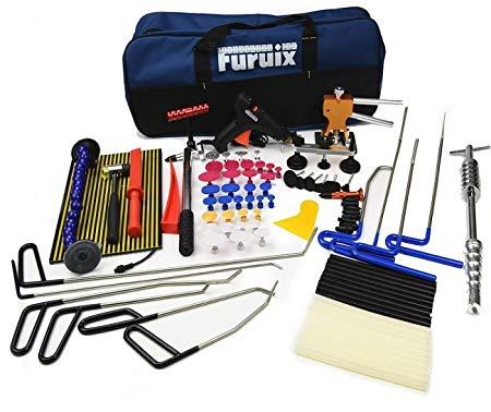 Furuix Car Dent Remover Paintless Dent Repair Kit/PDR Rods Dent Puller Dent Lifter PDR Light Slide Hammer PDR Glue Kit