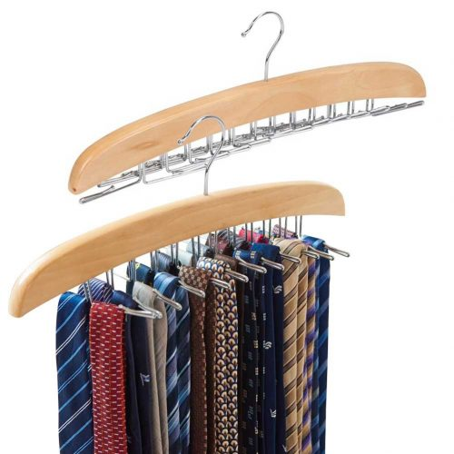 EZOWare [2-Pack] Belt Hangers, Adjustable 24 Tie Belt Scarf Racks Holder Hook Hanger for Closet Organizer Storage – Beige