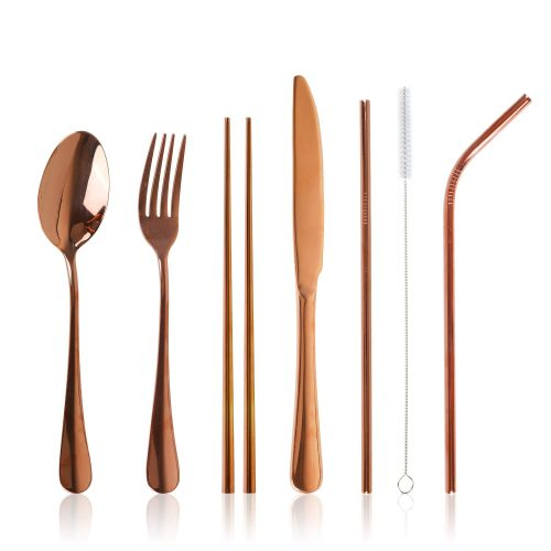 Stainless Steel Flatware Set Reusable Cutlery Set Travel Utensils Set with Straws for Camping Office or School Lunch, Dishwasher Safe, Set of 7 (Rose Gold)