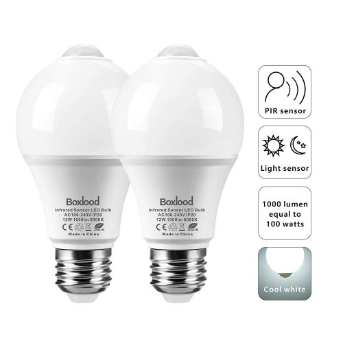 12W Motion Sensor Light Bulb, Auto On/Off, Dusk Till Dawn A19 LED Bulbs, E26/120V/6000K/1000LM for Indoor/Outdoor Garage Stairs Hallway by Boxlood(2Pack)