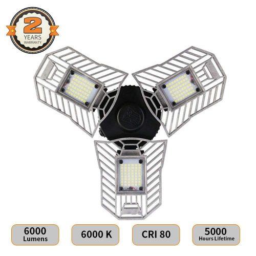 LED Garage Lights, Deformable LED Garage Ceiling Lights 6000 Lumens, 60W CRI 80 Led Shop Lights for Garage, Garage Lights with 3 Adjustable Panels, Utility Led Garage Lighting (No Motion Activated)