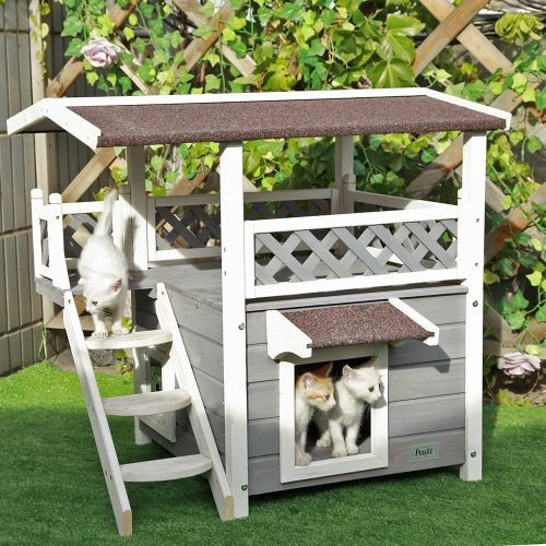 Petsfit 2-Story Outdoor Weatherproof Cat House Cat Condo