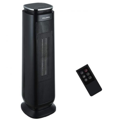 PELONIS Ceramic Space Heater, Oscillating Tower Heater Indoor Use, 1500W Electric Safe Heater with Remote Control, Digital Thermostat, 8-Hour Programmable Timer, Portable Heater