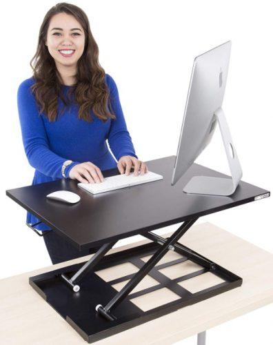 Stand Steady Standing Desk X-Elite Standing Desk   X-Elite Pro Version, Instantly Convert Any Desk into a Sit/Stand up Desk, Height-Adjustable, Fully Assembled Desk Converter (Black)