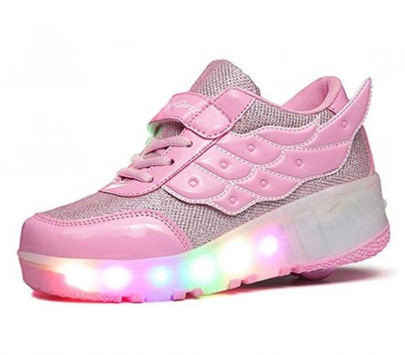 FOUPLER Boy Girl's LED Light Up Roller Skate Shoes Wheels Wings Outdoor(Little Kid/Big Kid) Pink