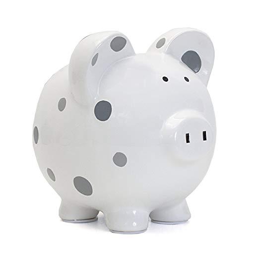 Child to Cherish Ceramic Polka Dot Piggy Bank, White with Grey