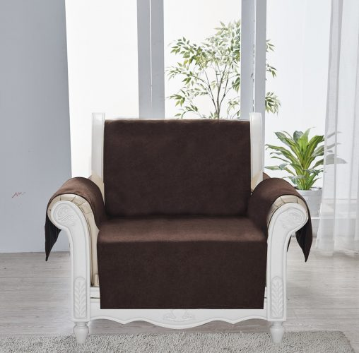 """Sofa Shield Original Patent Pending Reversible Recliner Slipcover, Dogs, 2"""" Strap/Hook Seat Width Up to 28"""" Washable Furniture Protector, Slip Cover Throw for Pets, Kids (Recliner: Chocolate/Beige)"""