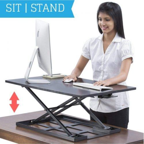Standing Desk Converter - Standup Ergonomic Height Adjustable Desktop Workstation - 32 X 22 Inch Extra Large Sit-Stand Desk Riser for a Dual Monitor Setup - Table Jack