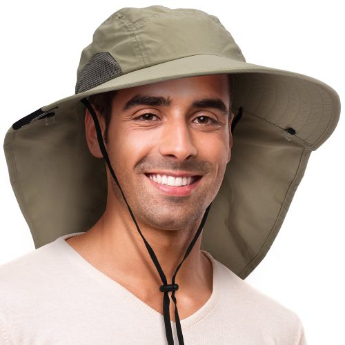 Solaris Outdoor Fishing Hat with Ear Neck Flap Cover Wide Brim Sun  Protection Safari Cap for b00e8d21edc