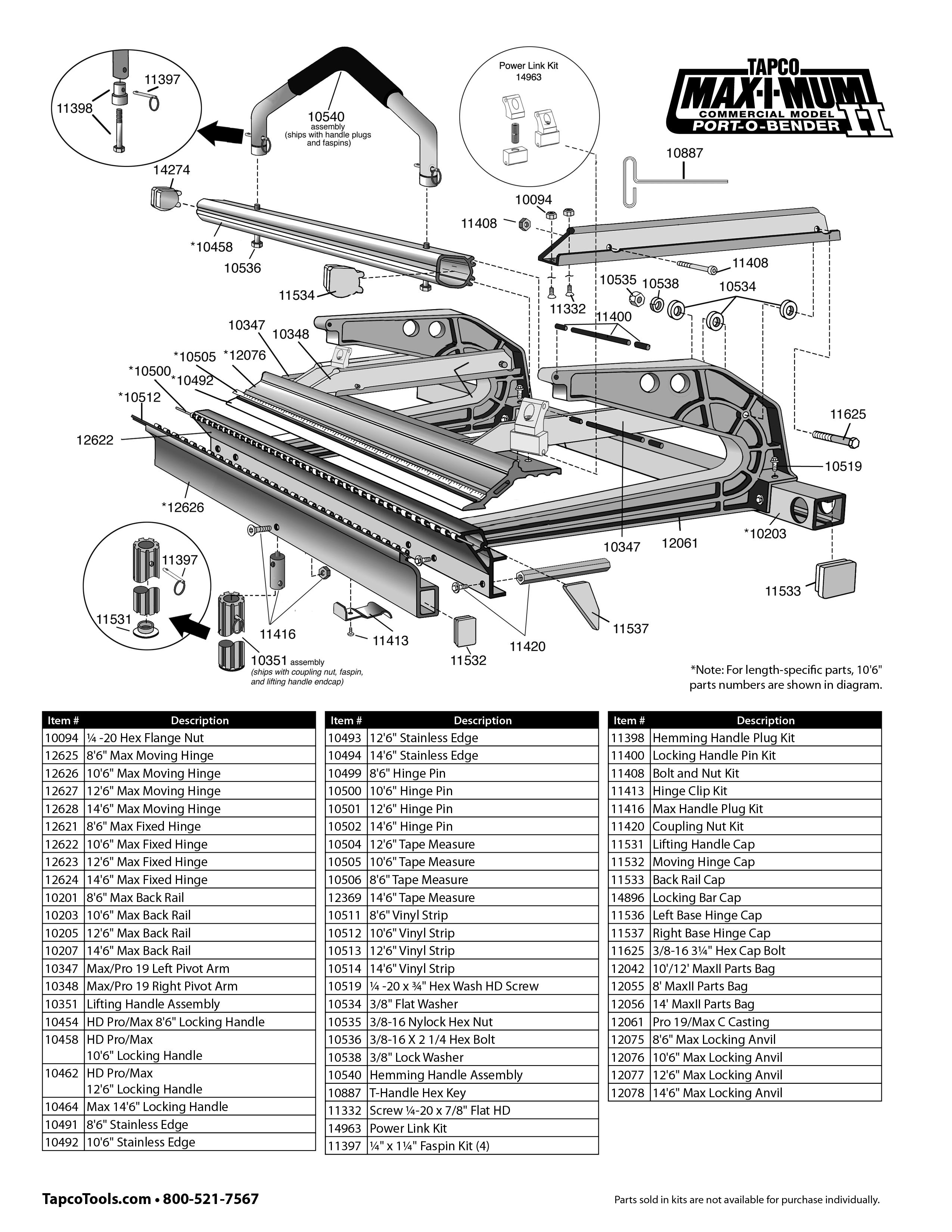 Tapco Maximum Replacement Parts