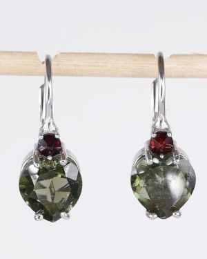 Faceted Moldavite Heart Cut Garnet Sterling Silver Earrings (2.0grams)