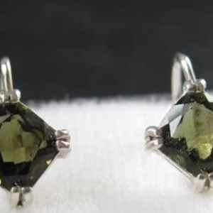 Faceted Square Moldavite Sterling Silver Earrings (2.3grams)