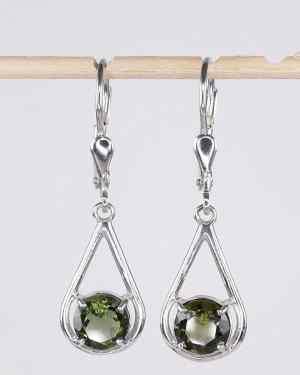 Faceted Moldavite Sterling Silver Round Cut (2.5grams)