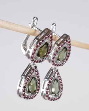 Faceted Moldavite Double With Garnet Sterling Silver Earrings (6.8grams)
