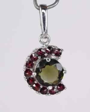 Moldavite Faceted Round Garnet Sterling Silver Pendant (2.2gram)