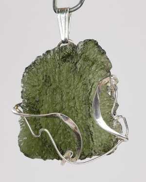Moldavite Silver Fine Shape Pendant (4.8gram)