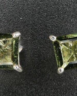 Moldavite Square Faceted Sterling Silver Stud Earrings (1.1gram)