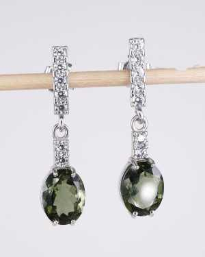 Faceted Moldavite Oval Cut With Cubic Zirconia Earrings (3.3grams)